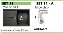 BLANCO SET 11 - A (METRA 45 S + MILA chrom) antracit