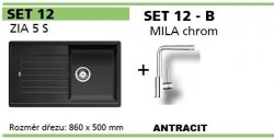 BLANCO SET 12 - B (ZIA 5 S + MILA chrom) antracit